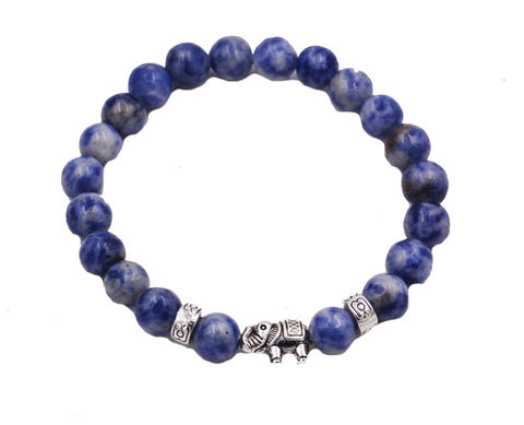 Sodalite,Stone,Bead,Elastic,Stretch,Charm,Bracelet,with,an,Elephant,-,Suitable,for,Most,Wrist,Sizes,Semi-Precious,Gemstone,Sodalite Stone Bead Elastic Stretch Charm Bracelet with an Elephant Charm  - Suitable for Most Wrist Sizes - Semi-Precious Gemstone