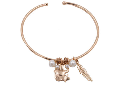 Gold,Plated,Delicate,Open,Cuff,Bangle,Bracelet,in,Tone,with,a,Flying,Bird,Charm,and,Pearls,-,Cute,Pretty,Design.,Gold Plated Delicate Open Cuff Bangle Bracelet in Gold  Tone with a Flying Bird Charm and Pearls  - Cute and Pretty Design.