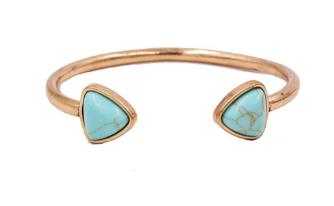 Antique,Gold,Tone,Turquoise,Triangle,Open,Cuff,Bracelet,Bangle,-,Stressed,Effect,Geometric,Modern,Design,Antique Gold Tone Turquoise Triangle Open Cuff Bracelet Bangle - Stressed Effect - Geometric Modern Design