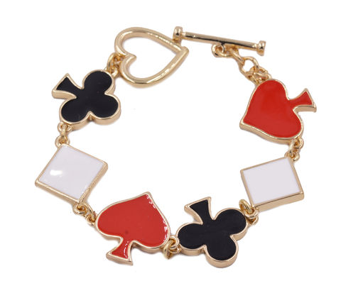 Alice,in,Wonderland,Inspired,Enamel,Suits,-,Heart,,Diamond,,Spade,and,Club,from,Cards,of,a,Deck,Pattern,Bracelet,Cute,Fun,Quirky,Design,Alice in Wonderland Inspired Enamel Suits - Heart, Diamond, Spade and Club from Cards of a Deck Pattern Bracelet - Cute Fun and Quirky Design