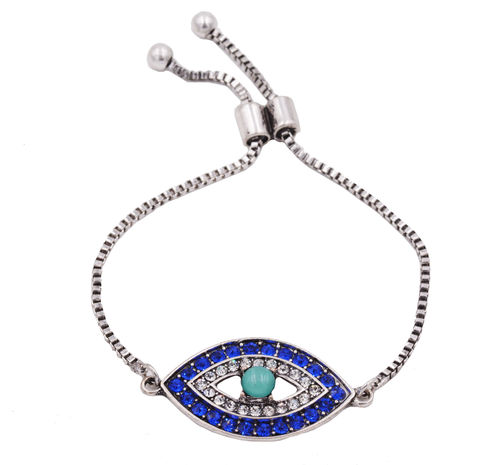 Rhodium,Plated,Evil,Eye,Aqua,Blue,Friendship,Bracelet,Encrusted,with,Sparkly,Crystals,-,Modern,Funky,Design,In,an,Organza,Bag.,Rhodium Plated Evil Eye Aqua Blue Friendship Bracelet Encrusted with Sparkly Crystals - Modern Funky Design - In an Organza Bag.