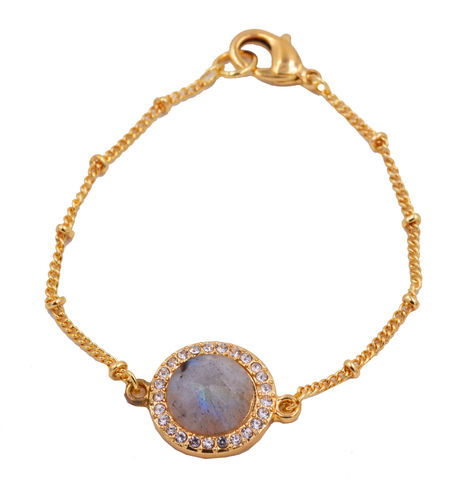 Gold,Plated,Labradorite,Stone,Coin,Bracelet,with,a,Satellite,Chain,-Delicate,and,Dainty,-,Minimalist,Geometric,Design,Semi-Precious,Crystal,Gold Plated Labradorite Stone Coin Bracelet with a Satellite Chain -Delicate and Dainty - Minimalist Geometric Design - Semi-Precious Crystal