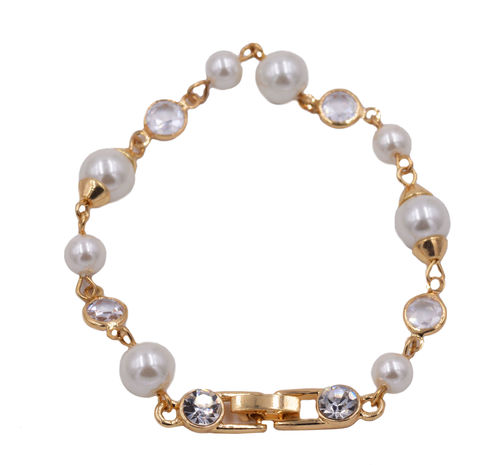 18ct,Gold,Plated,Pearl,and,Crystal,Bracelet,-Delicate,Dainty,-,Modern,Pretty,Jewellery,in,an,Organza,bag.,18ct Gold Plated Pearl and Crystal Bracelet  -Delicate and Dainty - Modern Pretty Jewellery - in an Organza bag.