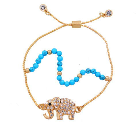18ct,Gold,Plated,Sparkly,Little,Elephant,with,Blue,Turquoise,Beads,Bracelet-,Adjustable,Size.,Delivered,in,organza,bags.,18ct Gold Plated Sparkly Little Elephant with Blue Turquoise Beads Bracelet- Adjustable Size.  Delivered in organza bags.