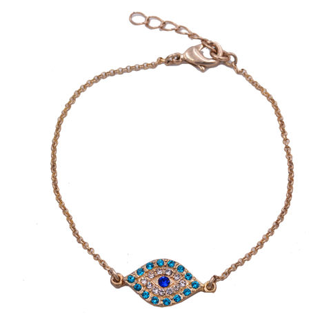 Crystal,Evil,Eye,Bracelet,in,Antique,Gold,Tone,-,Stressed,Effect,Dainty,and,Delicate,Delivered,organza,bags.,Crystal Evil Eye Bracelet in Antique Gold Tone - Stressed Effect  - Dainty and Delicate - Delivered in organza bags.