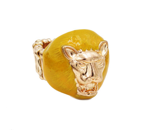 Gold,Tone,Roaring,Lion,Elastic,Stretch,Statement,Ring,1.7cm,-,Cute,,Fun,and,Quirky,Jewellery,In,Organza,Bag.,Gold Tone Roaring Lion Elastic Stretch Statement Ring 1.7cm - Cute, Fun and Quirky Jewellery - In Organza Bag.