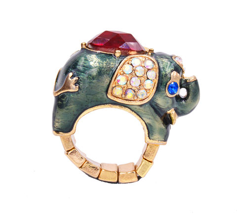 Gold,Tone,Elephant,Enamel,and,Crystals,Stretch,Statement,Ring,1.7cm,-,Cute,,Fun,Quirky,Jewellery,In,Organza,Bag.,Gold Tone Elephant Enamel and Crystals Stretch Statement Ring 1.7cm - Cute, Fun and Quirky Jewellery - In Organza Bag.