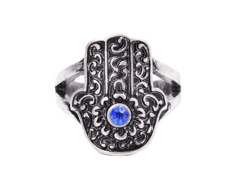 Antique,Silver,Tone,Hamsa,Fatima,Hand,Fashion,Ring,with,a,Sapphire,Blue,Crystal,-,Funky,Modern,Design,In,Organza,Bag.,Antique Silver Tone Hamsa Fatima Hand Fashion Ring with a Sapphire Blue Crystal - Funky Modern Design - In Organza Bag.