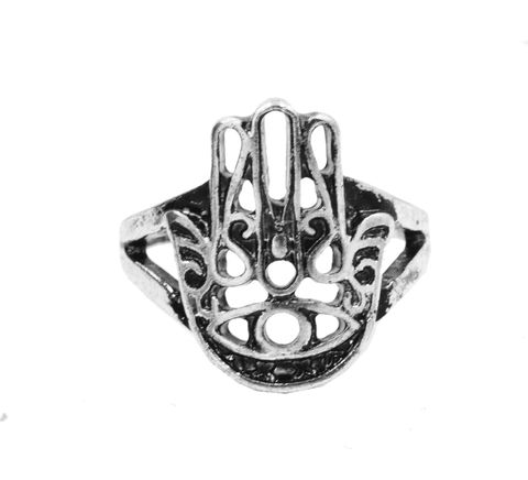 Antique,Silver,Tone,Hamsa,Fatima,Hand,Fashion,Ring,-,Funky,Modern,Design,In,Organza,Bag.,Antique Silver Tone Hamsa Fatima Hand Fashion Ring  - Funky Modern Design - In Organza Bag.