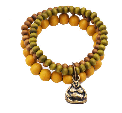 Real,Wood,Beads,Elastic,Bracelet,with,an,Antique,Brass,Tone,Sitting,Buddha,Charm,-,Three,Layer,MIxed,Colour,Strand,Real Wood Beads Elastic Bracelet with an Antique Brass Tone Sitting Buddha Charm    -  Three Layer with MIxed Colour Strand