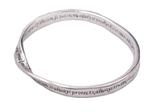 Rhodium,plated,'Infinite,Love',Script,Mobius,Strip,Infinity,Twist,Bangle,in,Silver,Tone,-,Pretty,and,Elegant,Design,an,organza,bag.,Rhodium plated 'Infinite Love' Script Mobius Strip Infinity Twist Bangle in Silver Tone - Pretty and Elegant Design - in an organza bag.