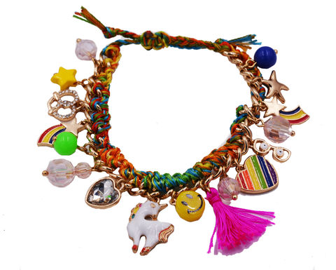 Super,Fun,Chunky,Charm,Bracelet,with,Rainbow,Unicorn,Smiley,Face,,Stars,and,Heart,-,Cute,Quirky,Design,Adjustable,Size.,Super Fun Chunky Charm Bracelet with Rainbow Unicorn Smiley Face, Stars and Heart - Cute and Quirky Design - Adjustable Size.