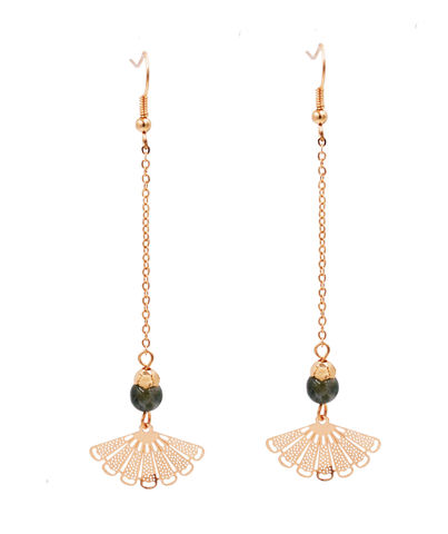 Gold,Plated,Oriental,Fan,Long,Drop,Hook,Earrings,with,a,Semi-Precious,Bead,-,Cute,Fun,and,Pretty,Jewellery,In,Organza,Bag.,Gold Plated Oriental Fan Long Drop Hook Earrings with a Semi-Precious Bead - Cute Fun and Pretty Jewellery - In Organza Bag.
