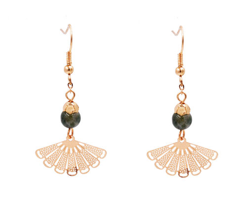 Gold,Plated,Oriental,Fan,Short,Drop,Hook,Earrings,with,a,Semi-Precious,Bead,-,Cute,Fun,and,Pretty,Jewellery,In,Organza,Bag.,Gold Plated Oriental Fan Short Drop Hook Earrings with a Semi-Precious Bead - Cute Fun and Pretty Jewellery - In Organza Bag.