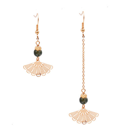 Mismatched,Gold,Plated,Oriental,Fan,Drop,Hook,Earrings,with,a,Semi-Precious,Bead,-,Asymmetric,Design,Cute,Fun,and,Pretty,Jewellery,Mismatched Gold Plated Oriental Fan Drop Hook Earrings with a Semi-Precious Bead - Asymmetric Design - Cute Fun and Pretty Jewellery