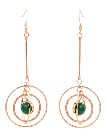 Gold,Plated,'Planet,with,Halo',Universe,Dangle,Earrings,Rotating,Hoops,-,Dark,Green,Jade,Chalcedony,Crystal,Semi-Precious,Stone,Gold Plated 'Planet with Halo' Universe Dangle Earrings with Rotating Hoops - Dark Green Jade Chalcedony Crystal - Semi-Precious Stone