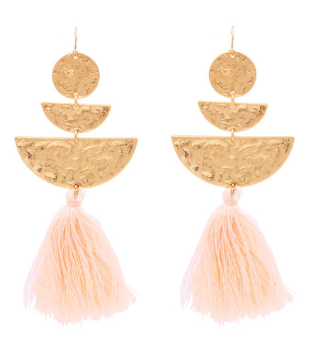 Hand,Crafted,Gold,Tone,Half,Circle,Hammered,Effect,Statement,Earrings,with,Pink,Cotton,Tassel,Chain,-,Geometric,Design,Funky,Modern,Jewellery,Hand Crafted Half Circle Hammered Effect Statement Earrings with Pink Cotton Tassel Chain - Geometric Design - Funky Modern Jewellery