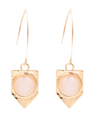 Gold,Plated,Dagger,Shape,Ear,Wire,Threader,Earrings,-,Pink,Quartz,Chalcedony,Crystal,Semi-Precious,Stone,Simple,Geometric,Design,Gold Plated Dagger Shape Ear Wire Threader Earrings - Pink Quartz Chalcedony Crystal - Semi-Precious Stone - Simple Geometric Design