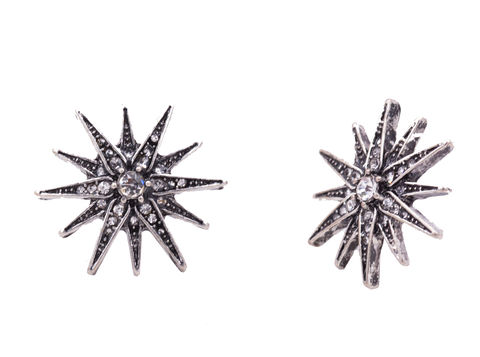 Antique,Silver,Tone,'Star,Burst',Sun,Large,Stud,Earrings,with,Crystals,-,Funky,Pretty,Modern,Design,In,Organza,Bag.,Antique Silver Tone 'Star Burst' Sun Large Stud Earrings with Crystals - Funky Pretty Modern Design - In Organza Bag.