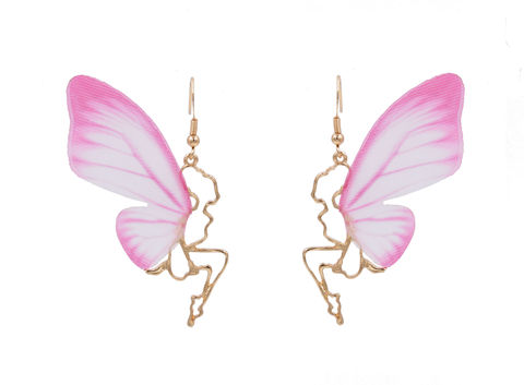 Pretty,Little,Fairy,Girl,with,Pink,Butterfly,Wings,Drop,Hook,Earrings,in,Gold,Tone,-,Cut-out,Design,Vivid,Lifelike,Fabric,Cute,Fun,and,Quirky,Pretty Little Fairy Girl with Pink Butterfly Wings Drop Hook Earrings in Gold Tone - Cut-out Design with Vivid Lifelike Fabric Wings - Cute Fun and Quirky