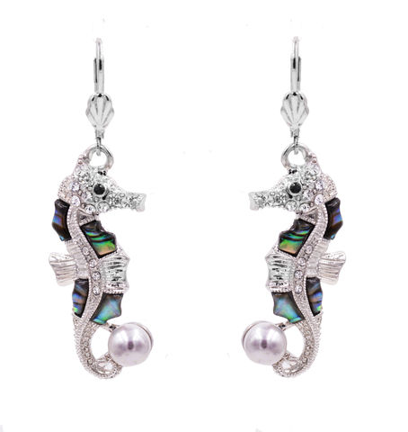 White,Gold,Plated,Seahorse,Fish,French,Hook,Earrings,with,Sea,Abalone,Shell,and,Pearl,-,Cute,Pretty,Elegant,In,Organza,Bag.,White Gold Plated Seahorse Fish French Hook Earrings with Sea Abalone Shell and Pearl - Cute Pretty and Elegant - In Organza Bag.