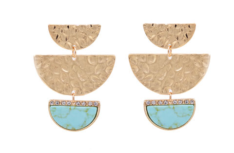 Hand,Crafted,Half,Circle,'Half,Moon',Hammered,Effect,Statement,Earrings,in,Gold,Tone,-,Semi-Precious,Blue,Turquoise,Stone,Geometric,Design,Hand Crafted Half Circle 'Half Moon' Hammered Effect Statement Earrings in Gold Tone - Semi-Precious Blue Turquoise Stone - Geometric Design