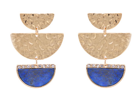 Hand,Crafted,Half,Circle,'Half,Moon',Hammered,Effect,Statement,Earrings,in,Gold,Tone,-,Semi-Precious,Lapis,Lazuli,Stone,Geometric,Design,Hand Crafted Half Circle 'Half Moon' Hammered Effect Statement Earrings in Gold Tone - Semi-Precious Lapis Lazuli Stone - Geometric Design