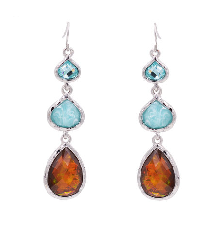 Beautiful,Teardrop,Trio,Drop,Hook,Earrings,with,Hammered,Effect,and,Opal,Resin,-,Geometric,Pear,Droplet,Design,Blue,Smokey,Whiskey,Colour,Beautiful Teardrop Trio Drop Hook Earrings with Hammered Effect and Opal Effect Resin - Geometric Pear Droplet Design - Blue and Smokey Whiskey Colour