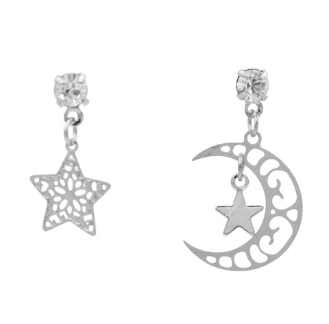 Silver,Tone,Dainty,and,Delicate,Cutout,Lace,Moon,Star,Drop,Stud,Earrings,-,Mismatched,Asymmetric,Design,Cute,Fun,Pretty,Quirky,Jewellery,Silver Tone Dainty and Delicate Cutout Lace Moon and Star Drop Stud Earrings - Mismatched Asymmetric Design - Cute Fun Pretty and Quirky Jewellery