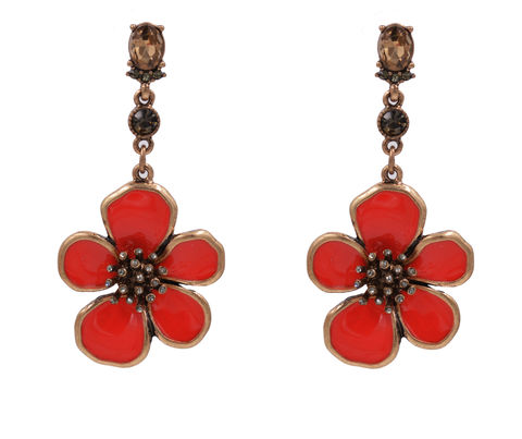 Antique,Brass,Tone,Poppy,Flower,Blossom,Drop,Stud,Dangle,Earrings,in,Red,-,Cute,,Fun,and,Pretty,Jewellery,In,Organza,Bag.,Antique Brass Tone Poppy Flower Blossom Drop Stud Dangle Earrings in Red - Cute, Fun and Pretty Jewellery - In Organza Bag.