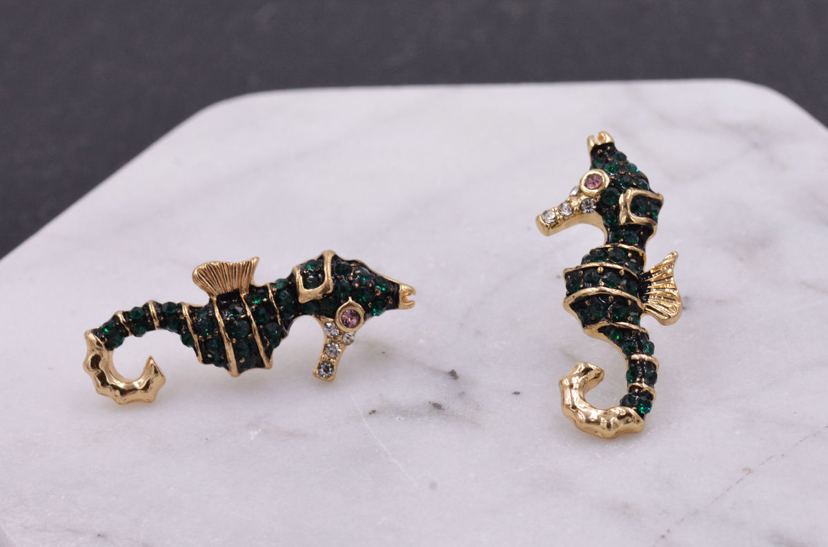 f4880aeb9 ... Gold Plated Seahorse Fish Ocean Animal Stud Earrings with Sparkly Dark  Green Crystals - Cute Fun