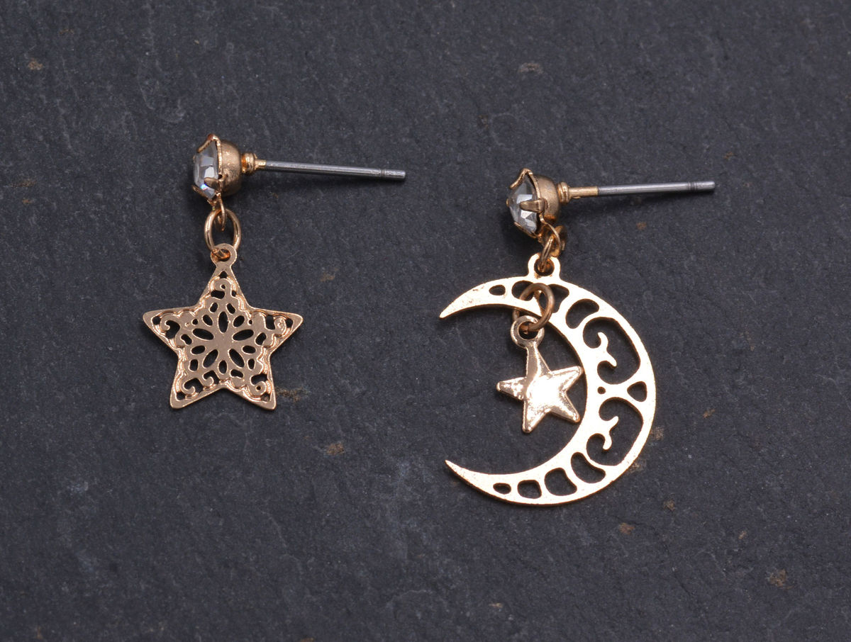 Gold Tone Dainty and Delicate Cutout Lace Moon and Star Drop Stud Earrings - Mismatched Asymmetric Design - Cute Fun Pretty and Quirky Jewellery   - product images  of