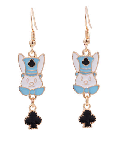 Alice,in,Wonderland,Inspired,the,White,Rabbit,with,a,Club,Pattern,Top,Hat,Drop,Hook,Earrings,Gold,Tone,-,Cute,,Fun,and,Quirky,Alice in Wonderland Inspired the White Rabbit with a Club Pattern Top Hat Drop Hook Earrings in Gold Tone - Cute, Fun and Quirky