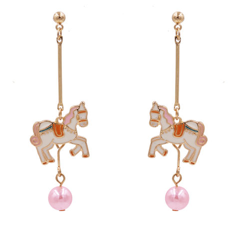 Gold,Plated,Carousel,Horse,Fairy,Tale,Inspired,Design,Drop,Stud,Dangling,Earrings,with,Enamel,Plating,-,Cute,,Fun,and,Quirky,Jewellery,Gold Plated Carousel Horse Fairy Tale Inspired Design Drop Stud Dangling Earrings with Enamel Plating - Cute, Fun and Quirky Jewellery