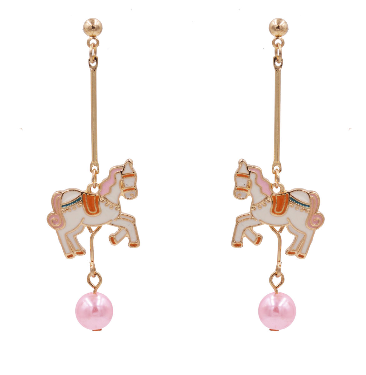 Gold Plated Carousel Horse Fairy Tale Inspired Design Drop Stud Dangling Earrings with Enamel Plating - Cute, Fun and Quirky Jewellery - product images  of