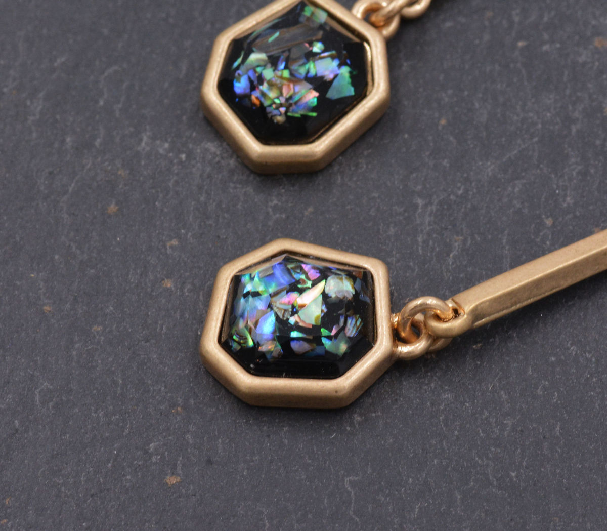 Gold Plated Sea Abalone Shell Square Duo Drop Stud Dangle Earrings- Simple Geometric Modern Design - Elegant and Pretty Jewellery  - product images  of