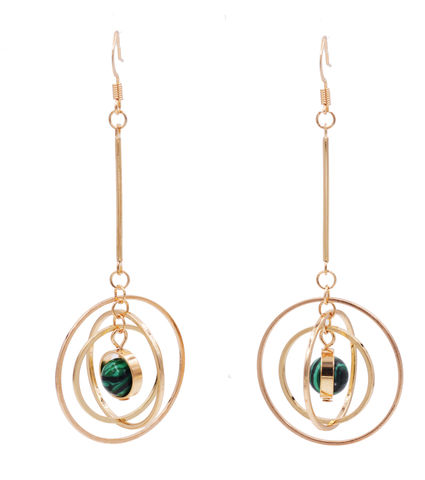 Gold,Plated,'Planet,with,Halo',Universe,Dangle,Earrings,Rotating,Hoops,-,Green,Malachite,Stone,Semi-Precious,In,Organza,Bag.,Gold Plated 'Planet with Halo' Universe Dangle Earrings with Rotating Hoops - Green Malachite Stone - Semi-Precious Stone - In Organza Bag.