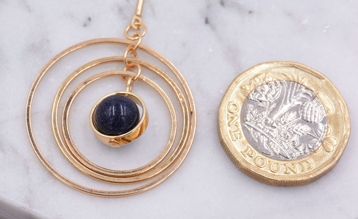 Gold Plated 'Planet with Halo' Universe Dangle Earrings with Rotating Hoops - Sparkly Blue Sandstone - Semi-Precious Stone - In Organza Bag.  - product images  of