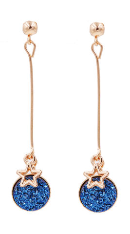 Gold,Tone,Sparkly,Resin,Druzy,Crystal,Dangling,Drop,Stud,Earrings,in,Blue,with,a,Star,Charm,-Cute,Fun,and,Pretty,Jewellery,-,In,Organza,Bag.,Gold Tone Sparkly Resin Druzy Crystal Dangling Drop Stud Earrings in Blue with a Star Charm  -Cute Fun and Pretty Jewellery - In Organza Bag.