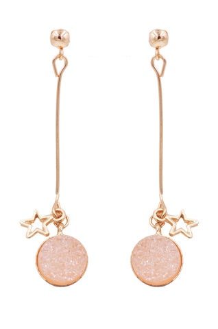 Gold,Tone,Sparkly,Resin,Druzy,Crystal,Dangling,Drop,Stud,Earrings,in,Pink,with,a,Star,Charm,-Cute,Fun,and,Pretty,Jewellery,-,In,Organza,Bag.,Gold Tone Sparkly Resin Druzy Crystal Dangling Drop Stud Earrings in Pink with a Star Charm  -Cute Fun and Pretty Jewellery - In Organza Bag.