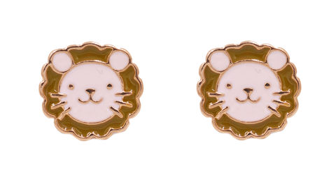 Cute,Little,Lion,Stud,Earrings,with,Enamel,Plating,-,Pretty,,Fun,and,Quirky,Jewellery,In,Organza,Bag.,Cute Little Lion Stud Earrings with Enamel Plating - Pretty, Fun and Quirky Jewellery - In Organza Bag.