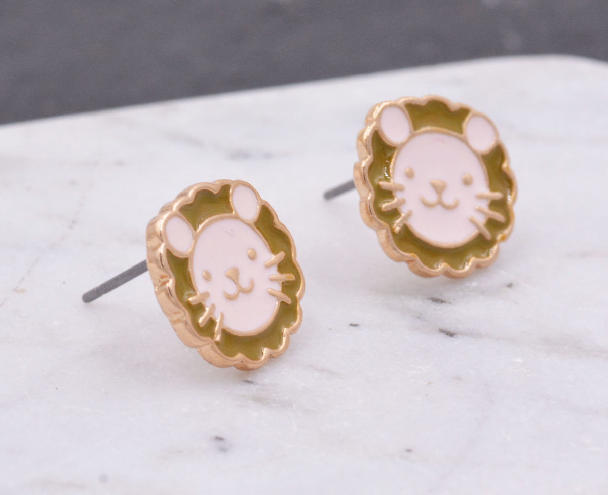 Cute Little Lion Stud Earrings with Enamel Plating - Pretty, Fun and Quirky Jewellery - In Organza Bag.   - product images  of