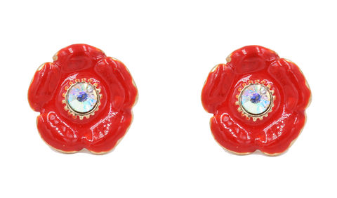 Poppy,Flower,Stud,Earrings,with,a,Crystal,and,Hand,Painted,Enamel,-,Cute,Fun,Pretty,Red,Blossom,Jewellery,In,Organza,Bag.,Poppy Flower Stud Earrings with a Crystal and Hand Painted Enamel  - Cute Fun and Pretty Red Blossom Jewellery - In Organza Bag.