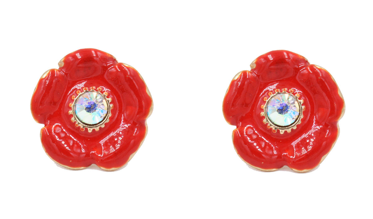 Poppy Flower Stud Earrings with a Crystal and Hand Painted Enamel  - Cute Fun and Pretty Red Blossom Jewellery - In Organza Bag.   - product images  of