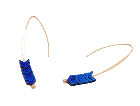Gold,Plated,Blue,Chevron,V,shape,Cobalt,Stone,Ear,Wire,Earrings,-,Elegant,and,Pretty,Jewellery,In,Organza,Bag.,Gold Plated Blue Chevron V shape Cobalt Blue Stone Ear Wire Earrings - Elegant and Pretty Jewellery - In Organza Bag.