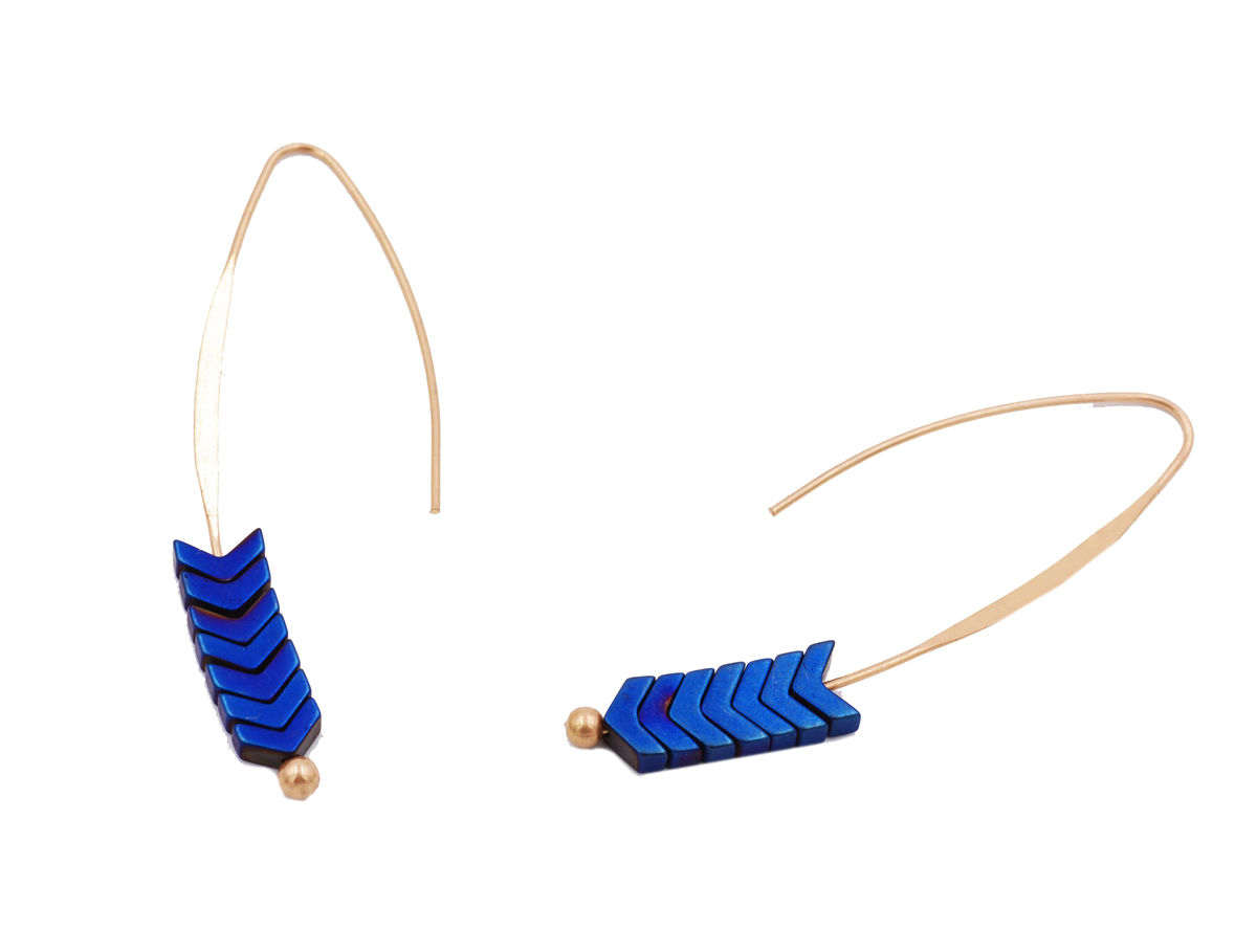 Gold Plated Blue Chevron V Shape Cobalt Stone Ear Wire Earrings Elegant And Pretty Jewellery In Organza Bag