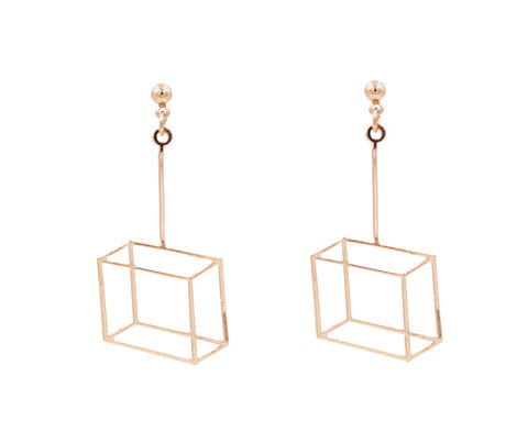 Gold,Plated,Optical,Illusion,Geometric,3D,effect,Box,Frame,Cube,Earrings,-,Pretty,,Fun,and,Quirky,Jewellery,In,Organza,Bag.,Gold Plated Optical Illusion 3D effect Box Frame Earrings - Pretty, Fun and Quirky Jewellery - In Organza Bag.