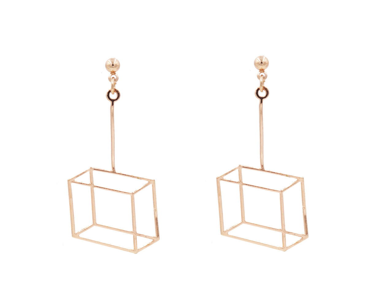 Gold Plated Optical Illusion Geometric 3D effect Box Frame Cube ...