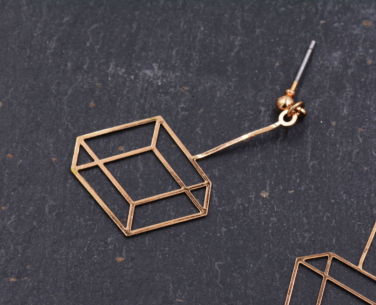 Gold Plated Optical Illusion Geometric 3D effect Box Frame Cube Earrings - Pretty, Fun and Quirky Jewellery - In Organza Bag.  - product images  of