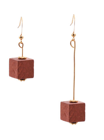 Real,Wood,Cube,Mismatched,Drop,Hook,Earrings,in,Gold,Tone,-,Mahogany,Red,Colour,Minimalist,Geometric,Design,In,Organza,Bag.,Real Wood Cube Mismatched Drop Hook Earrings in Gold Tone - Mahogany Red Colour - Minimalist Geometric Design - In Organza Bag.